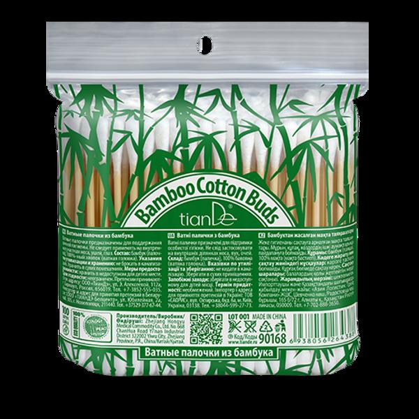 TianDe bambusa kokvilnas vates kociņi 100% bioloģiski noārdāmi 100gab