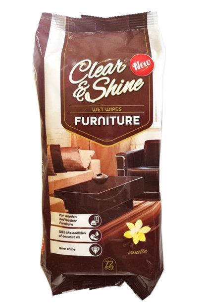 """Mitrās salvetes mēbeļu tīrīšanai """"Clear & Shine"""" ar vaniļas aromātu, 72 gab."""