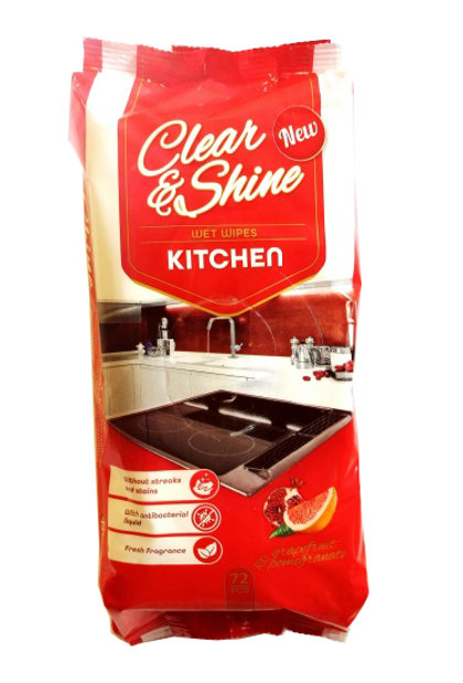 """Mitrās salvetes virtuves virsmu tīrīšanai """"Clear & Shine"""", 72 gab."""
