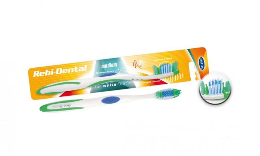 """Zobu birste """"Rebi-Dental"""" ar vidēji cietiem sariem  1gab"""